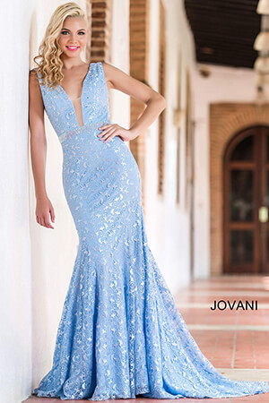 Jovani Powder Blue Lace Prom Dress 22917 House Of Joy