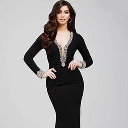 096d08058ce6d Jovani Long Sleeve Jersey Gown 23165 – House of Joy Couture
