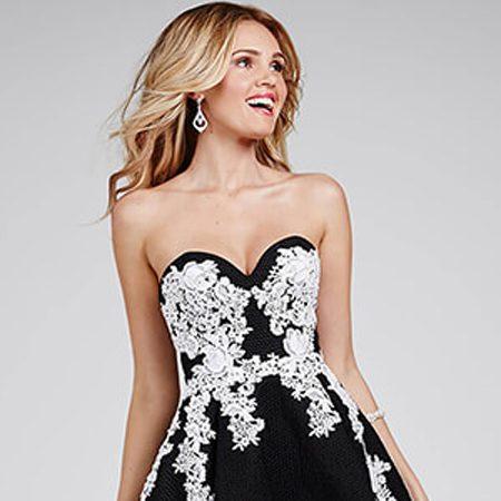 c3c0804bc47 Jovani Black Strapless White Applique Dress 24917 – House of Joy Couture