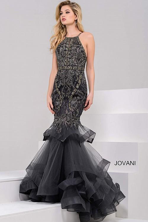 Jovani Halter Neck Embellished Mermaid Prom Dress 31554 – House of ...