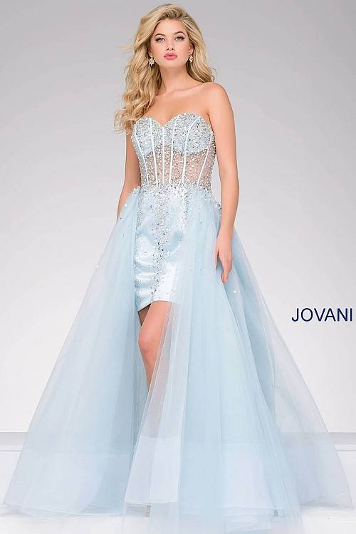 74512914cf6e7 Jovani Blue Strapless Tulle Over Skirt Prom Dress 42937 – House of Joy  Couture