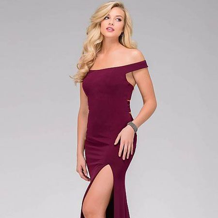 6d55576375dc2 jovani Bordeaux Fitted Jersey Off the Shoulder Prom Dress 49369 – House of Joy  Couture