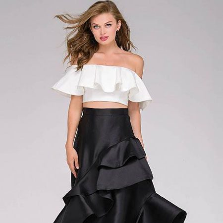5fd51a00beb Jovani Black and Ivory Two-Piece Off the Shoulder Prom Gown 47689 – House  of Joy Couture